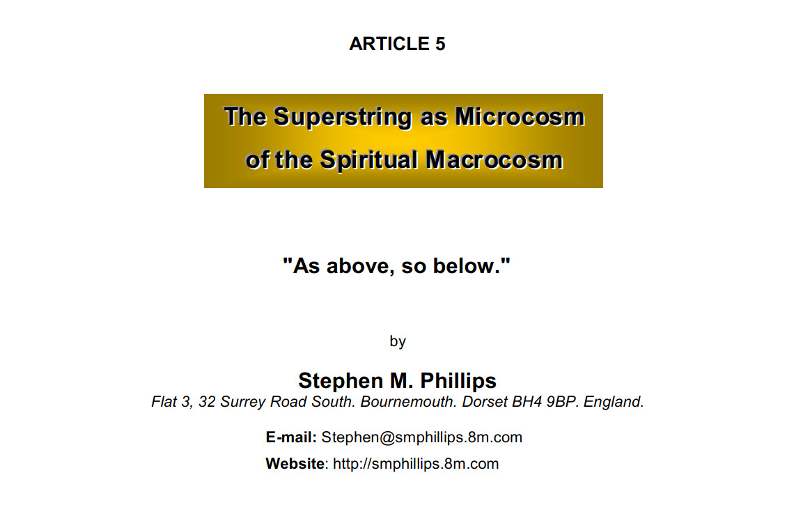 The Superstring as Microcosm of the Spiritual Macrocosm
