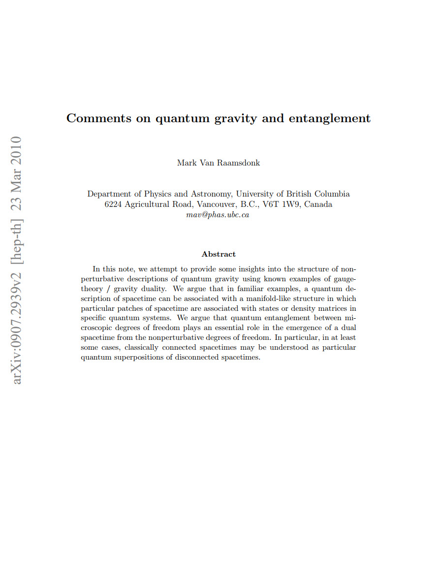 Comments on quantum gravity and entanglement