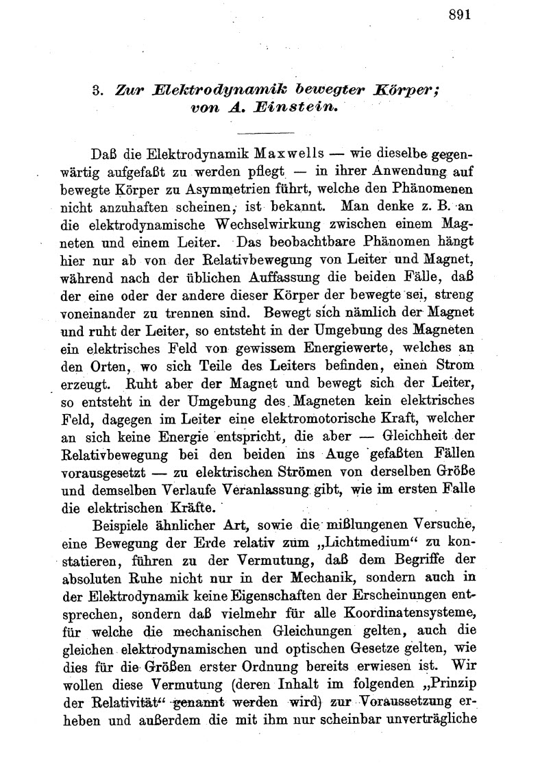 Einstein's Original 1905 Paper in German
