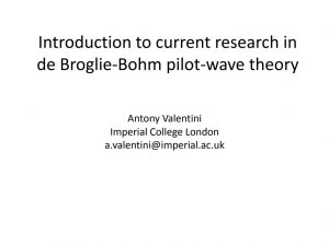 Introduction to current research in de Broglie-Bohm pilot-wave theory