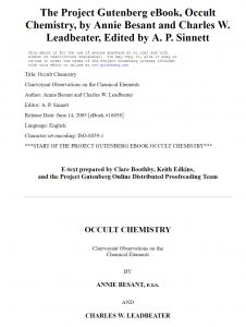 Occult Chemistry: Clairvoyant Observations on the Chemical Elements by Annie Besant et al. PDF