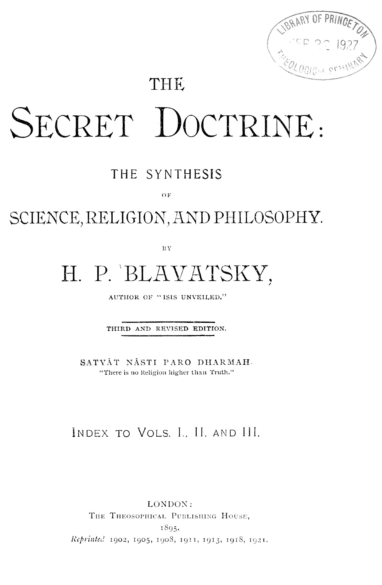Index to Blavatsky, Secret Doctrine, 3rd Edition, PDF