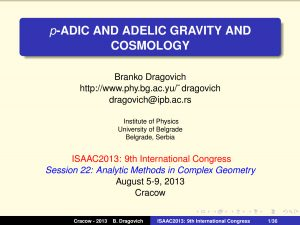 p-adic and Adelic Gravity and Cosmology