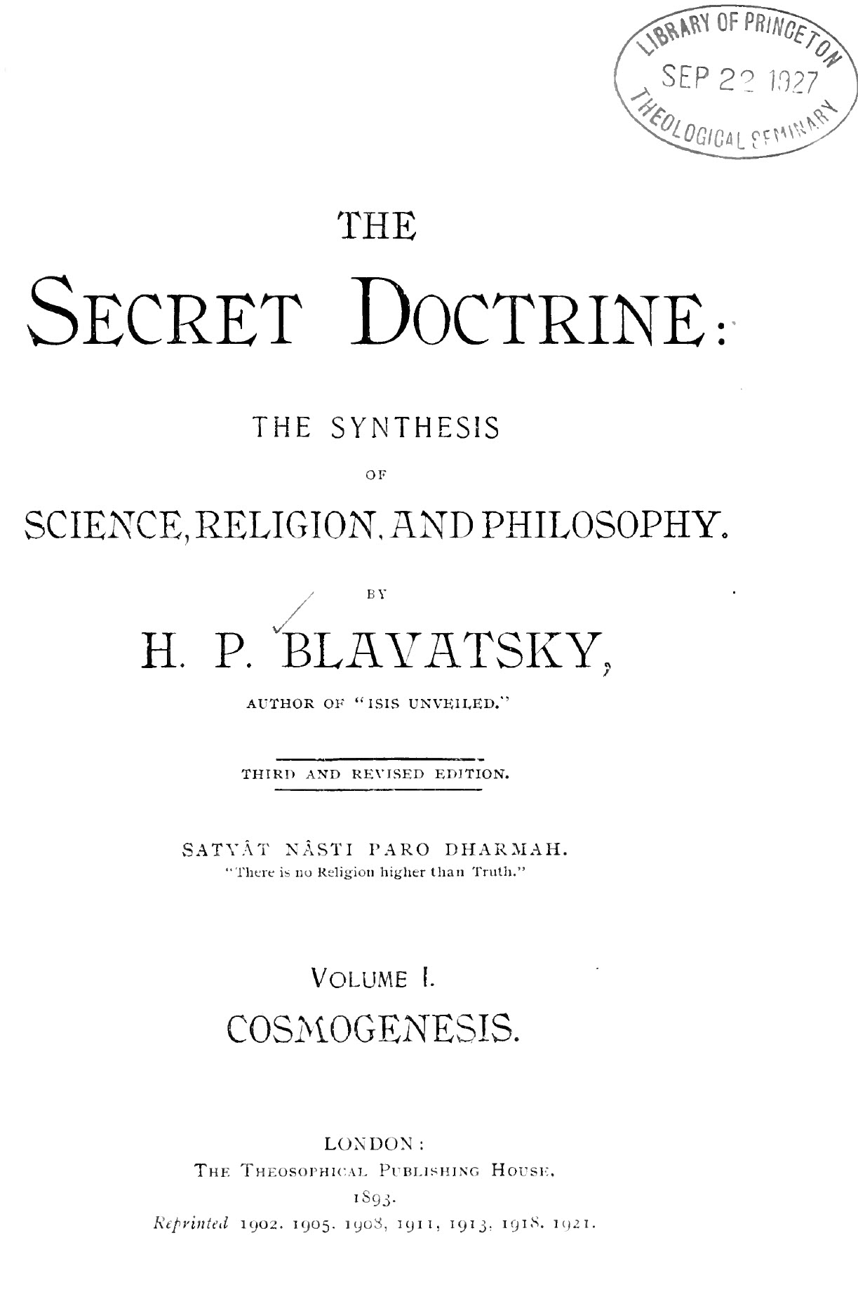 Blavatsky, Secret Doctrine Volume 1, Cosmogenesis, 3rd Edition, PDF
