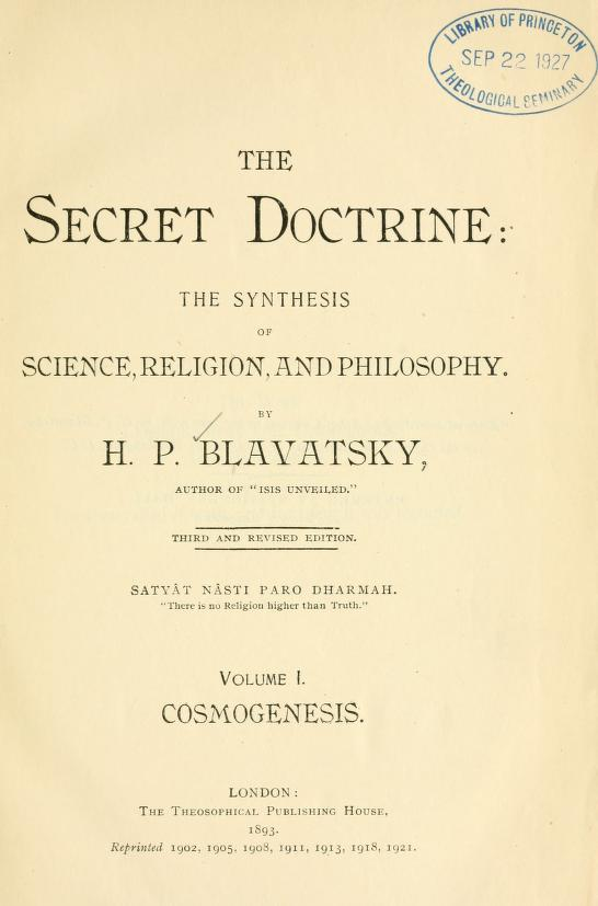 Blavatsky, Secret Doctrine Volume 1, Cosmogenesis, 3rd Edition, URL