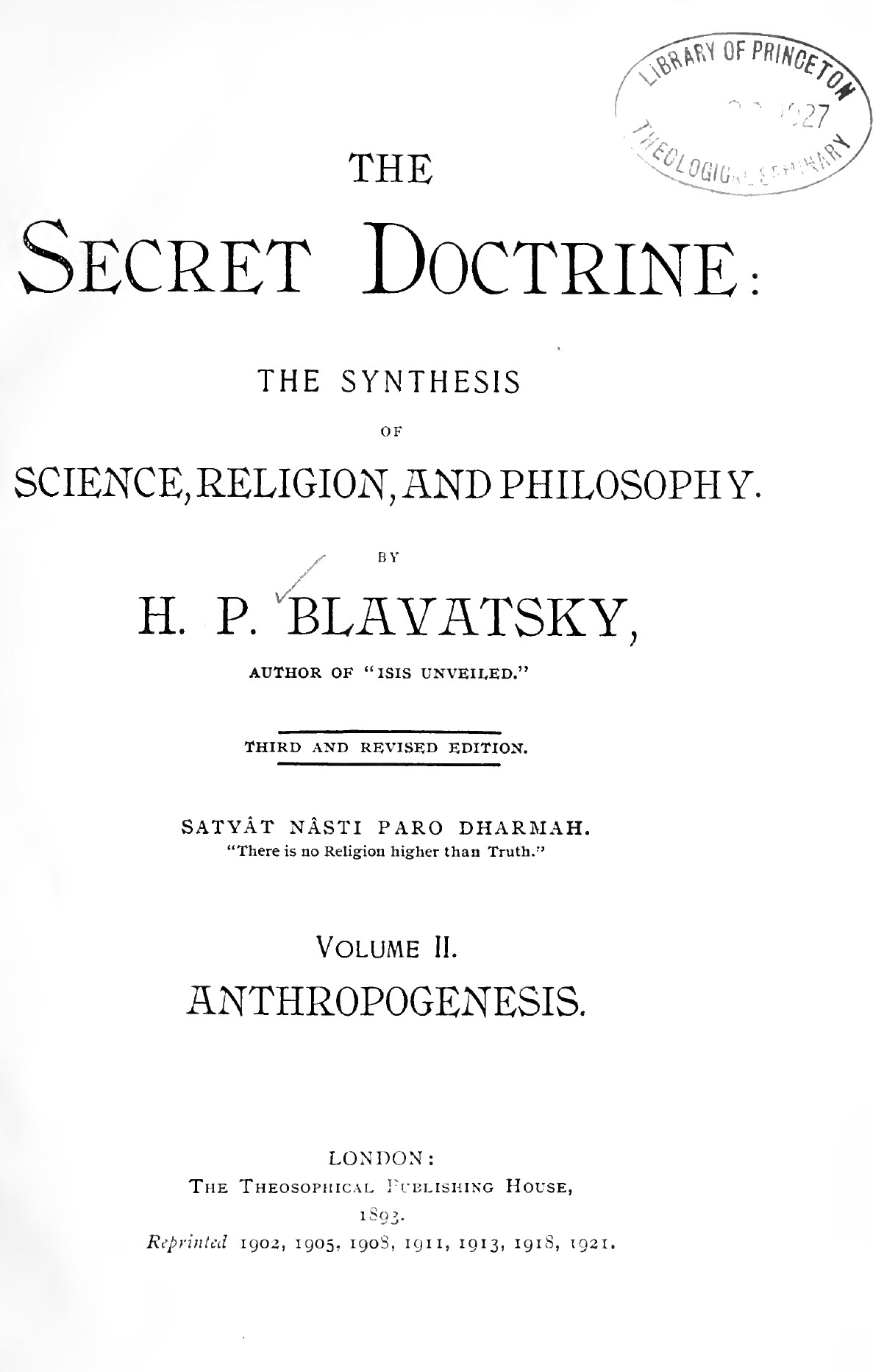 Blavatsky, Secret Doctrine Volume 2, Anthropogenesis, 3rd Edition, PDF