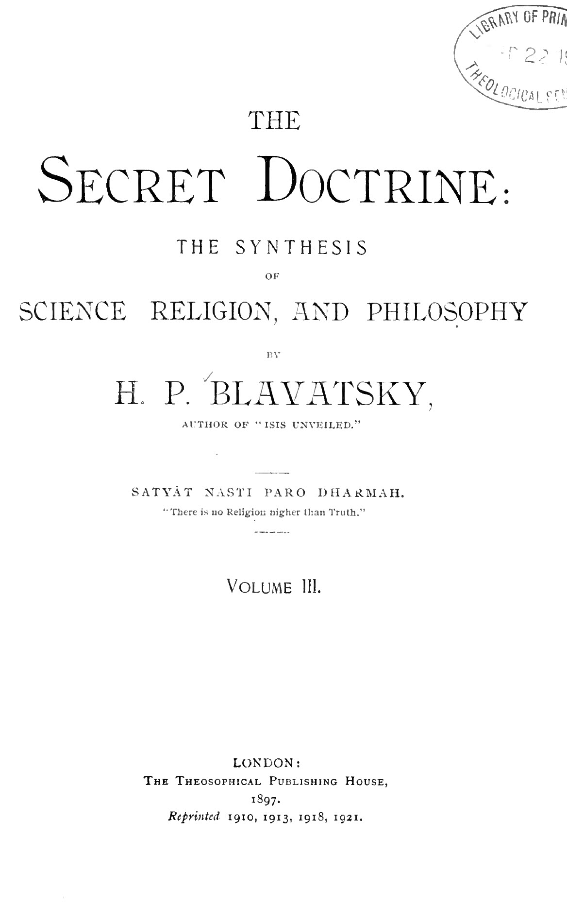 Blavatsky, Secret Doctrine Volume 3, Occultism, 3rd Edition, PDF