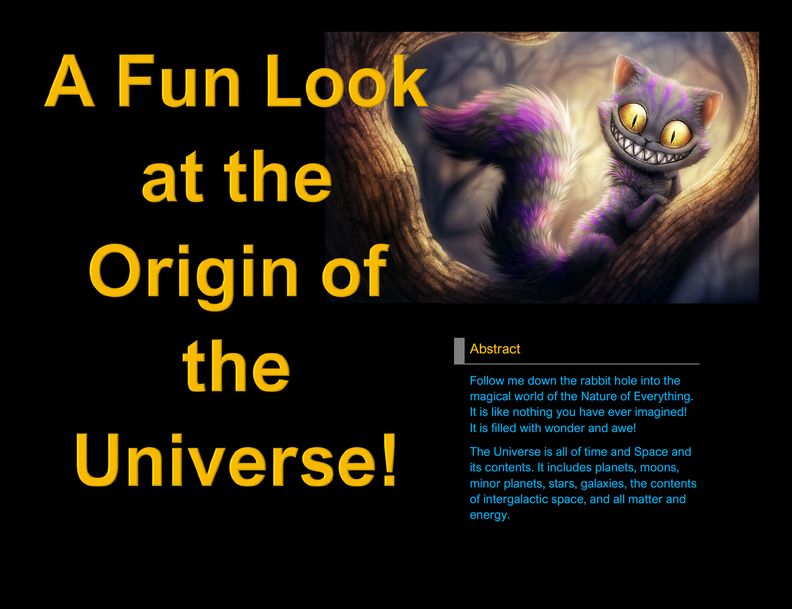 A Fun Look at the Origin of the Universe!